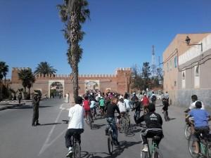 Vue du Peloton de cyclistes à la 5ème Vélo-parade de Tiznit